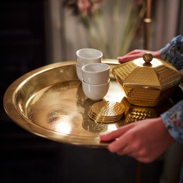 LJUVARE Tray, gold-colour, 45 cm