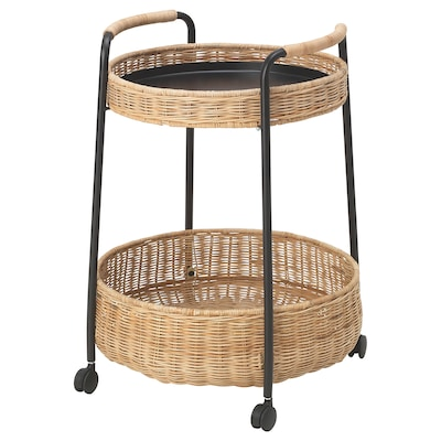 LUBBAN trolley table with storage rattan/anthracite 10 kg 5 kg 50 cm 50 cm 66 cm