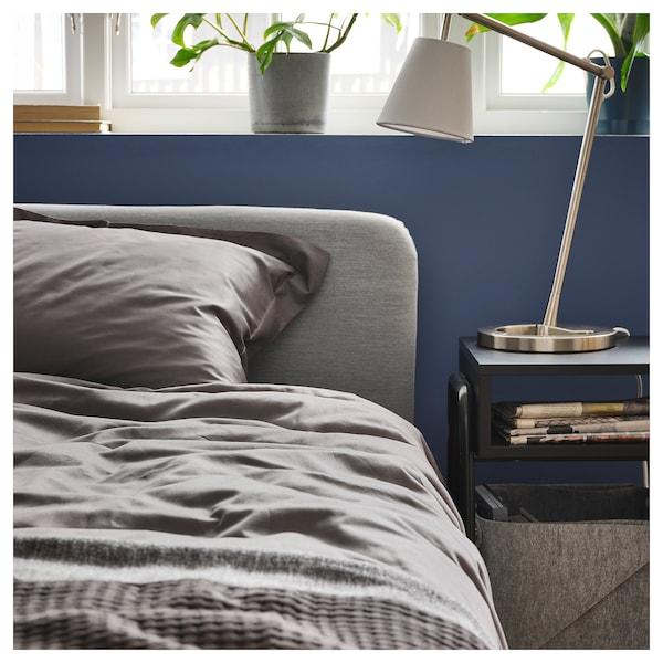 LUKTJASMIN quilt cover and pillowcase dark grey 310 /inch² 1 pack 200 cm 150 cm 50 cm 80 cm