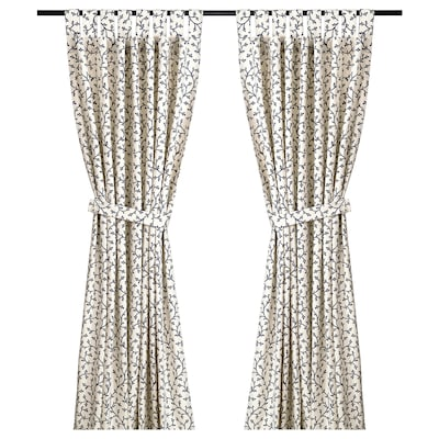 LUNGÖRT Curtains with tie-backs, 1 pair, grey/white, 145x150 cm