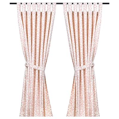 LUNGÖRT Curtains with tie-backs, 1 pair, pink/white, 145x150 cm