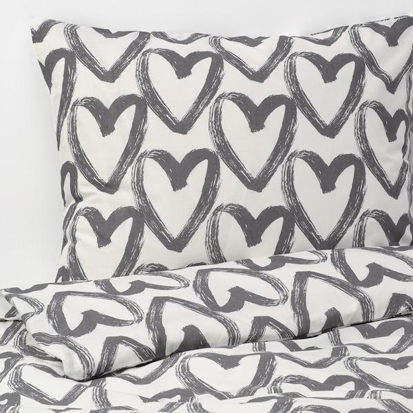 LYKTFIBBLA Duvet cover and pillowcase, white/grey, 150x200/50x80 cm