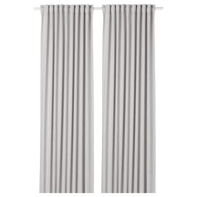 MAJGULL Room darkening curtains, 1 pair, light grey, 145x300 cm