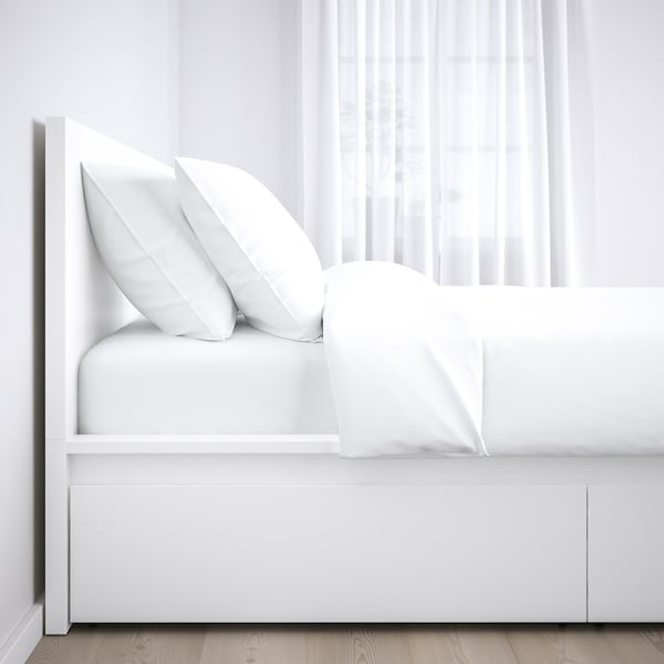 MALM Bed frame, high, w 2 storage boxes, white/Lönset, 140x200 cm
