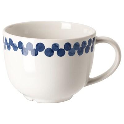MEDLEM Mug, white/blue/patterned, 42 cl