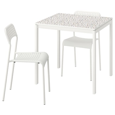 MELLTORP / ADDE Table and 2 chairs, mosaic patterned white/white, 75x75 cm