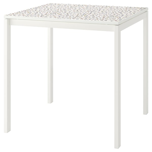 MELLTORP Table, mosaic patterned/white, 75x75 cm