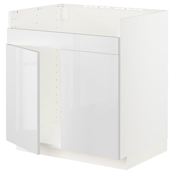 METOD Base cab f HAVSEN double bowl sink, white/Ringhult white, 80x60x80 cm