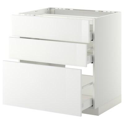 METOD Base cab f hob/3 fronts/3 drawers, white Maximera/Ringhult white, 80x60x80 cm