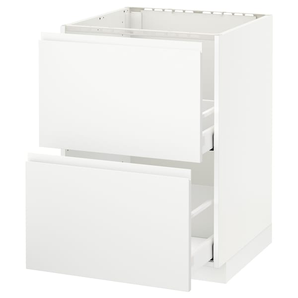 METOD Base cab f sink+2 fronts/2 drawers, white Maximera/Voxtorp matt white, 60x60x80 cm