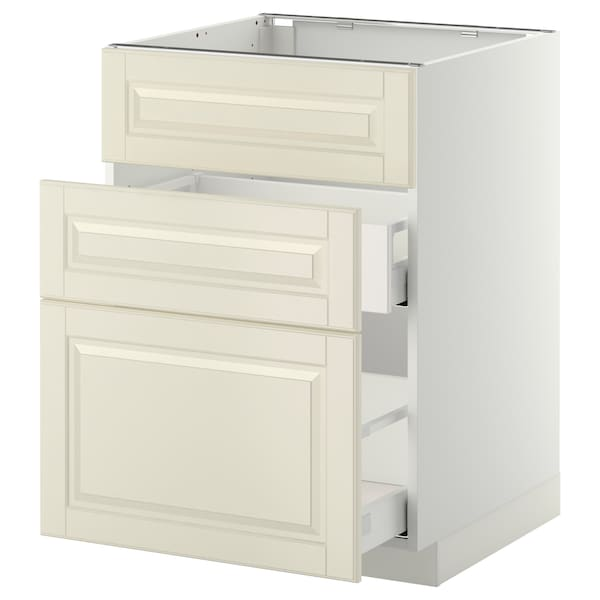 METOD base cab f sink+3 fronts/2 drawers white Maximera/Bodbyn off-white 60.0 cm 61.9 cm 60.0 cm 80.0 cm