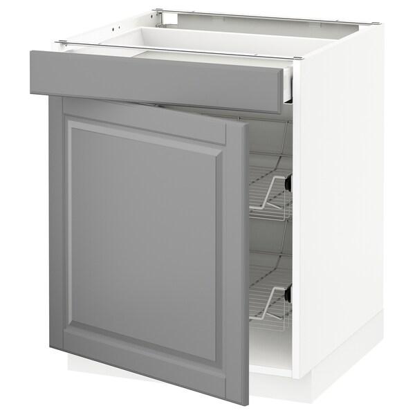 METOD Base cab w wire basket/drawer/door, white Maximera/Bodbyn grey, 60x60x70 cm