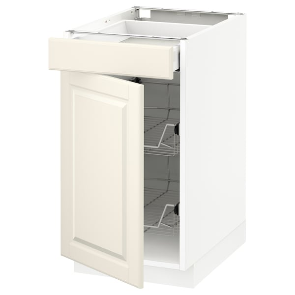 METOD Base cab w wire basket/drawer/door, white Maximera/Bodbyn off-white, 40x60x70 cm
