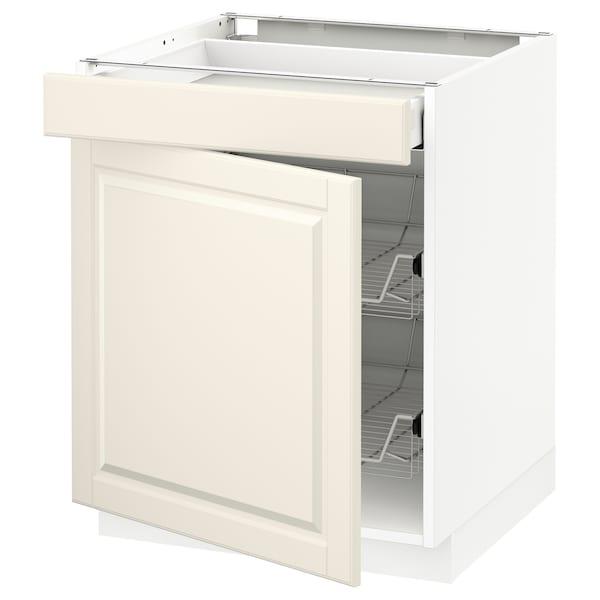 METOD Base cab w wire basket/drawer/door, white Maximera/Bodbyn off-white, 60x60x70 cm