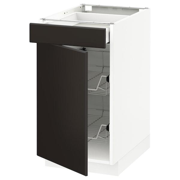 METOD Base cab w wire basket/drawer/door, white Maximera/Kungsbacka anthracite, 40x60x70 cm