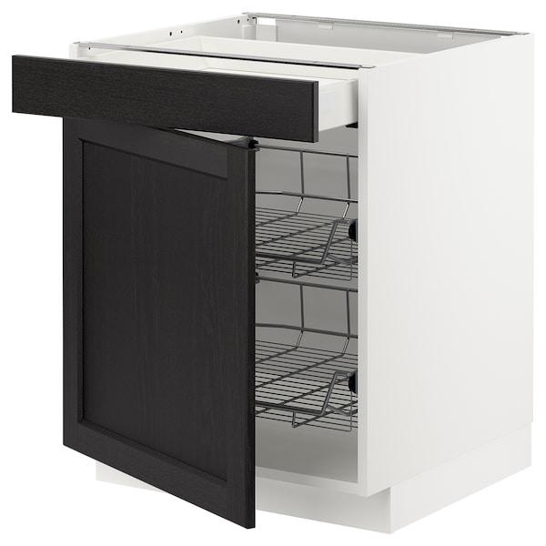 METOD Base cab w wire basket/drawer/door, white Maximera/Lerhyttan black stained, 60x60x70 cm