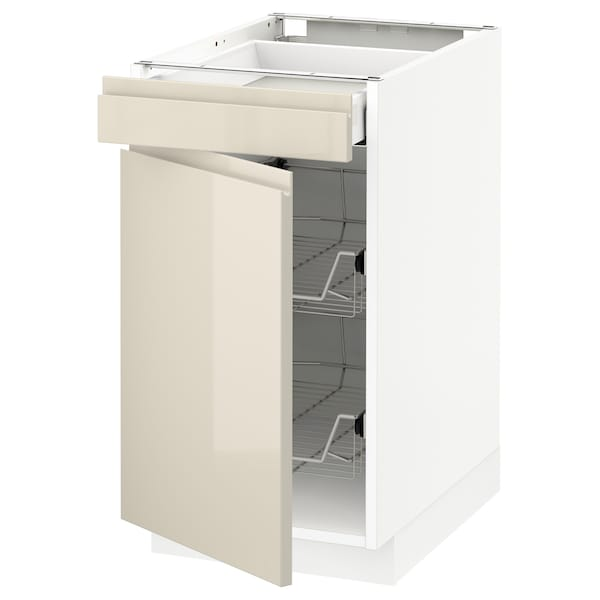 METOD Base cab w wire basket/drawer/door, white Maximera/Voxtorp high-gloss light beige, 40x60x70 cm