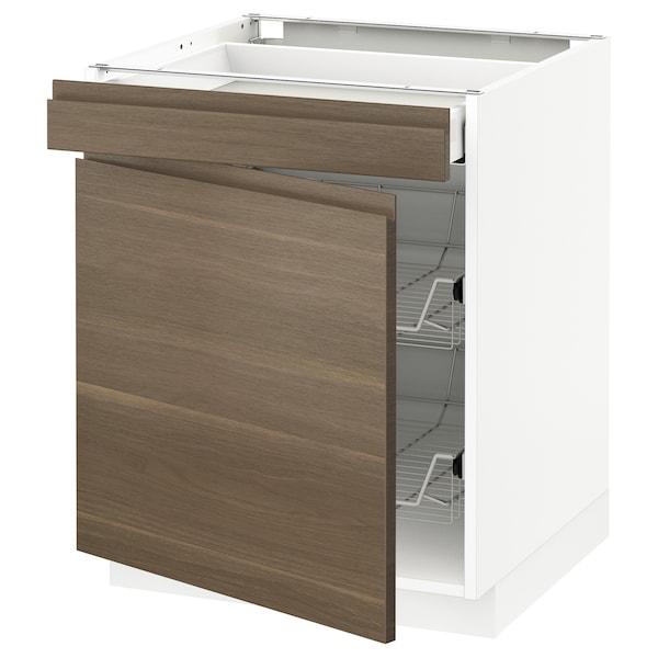 METOD Base cab w wire basket/drawer/door, white Maximera/Voxtorp walnut, 60x60x70 cm