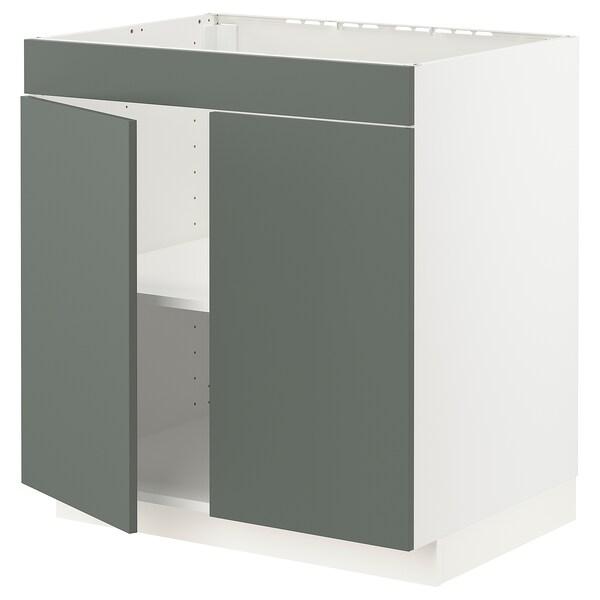 METOD Base cabinet f hob/2 doors, white/Bodarp grey-green, 80x60x80 cm