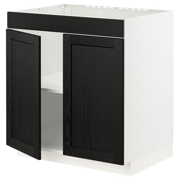 METOD Base cabinet f hob/2 doors, white/Lerhyttan black stained, 80x60x80 cm