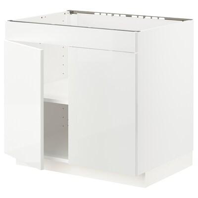 METOD Base cabinet f hob/2 doors, white/Ringhult white, 80x60x70 cm