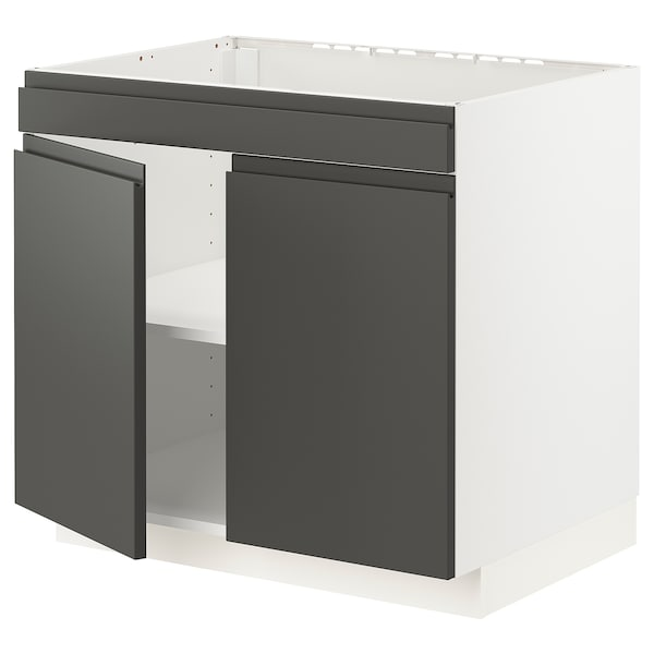METOD Base cabinet f hob/2 doors, white/Voxtorp dark grey, 80x60x70 cm