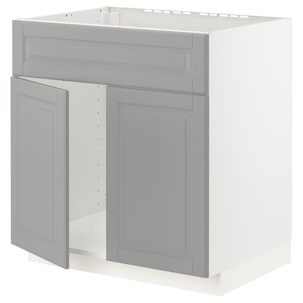 METOD Base cabinet f sink w 2 doors/front, white/Bodbyn grey, 80x60x80 cm