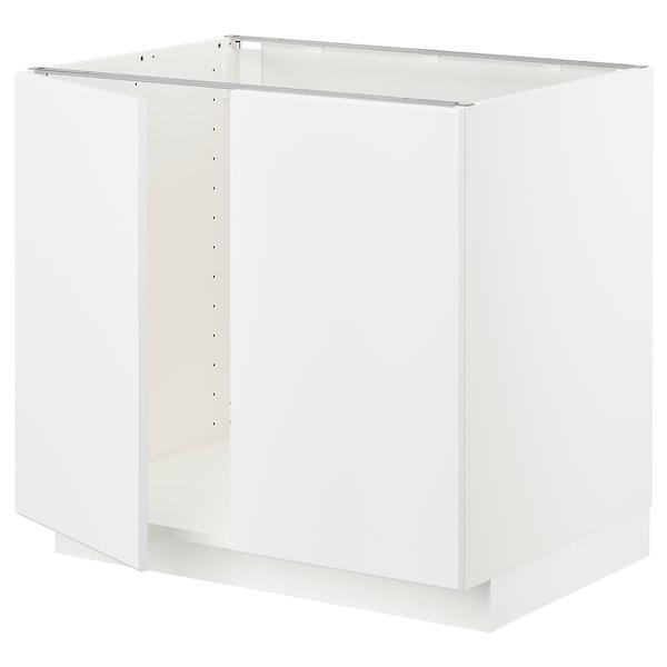 METOD base cabinet for sink + 2 doors white/Kungsbacka matt white 80 cm 61.8 cm 60 cm 70 cm