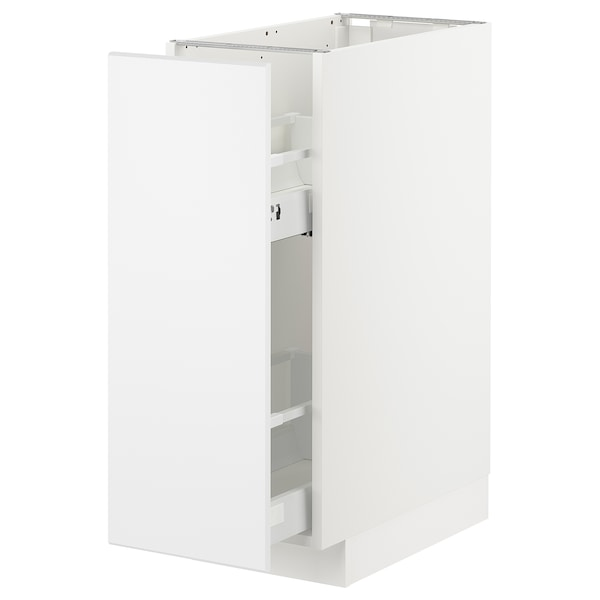 METOD Base cabinet/pull-out int fittings, white/Kungsbacka matt white, 30x60x80 cm