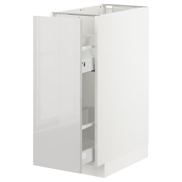 METOD Base cabinet/pull-out int fittings, white/Ringhult light grey, 30x60x80 cm