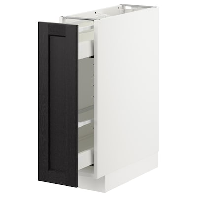 METOD base cabinet/pull-out int fittings white/Lerhyttan black stained 20 cm 60 cm 61.8 cm 70 cm