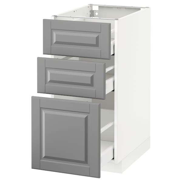 METOD Base cabinet with 3 drawers, white Maximera/Bodbyn grey, 40x60x80 cm
