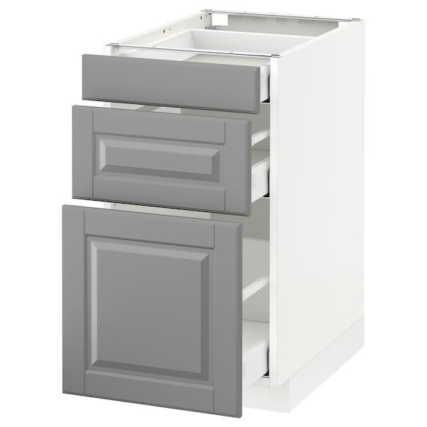 METOD Base cabinet with 3 drawers, white Maximera/Bodbyn grey, 40x60x70 cm