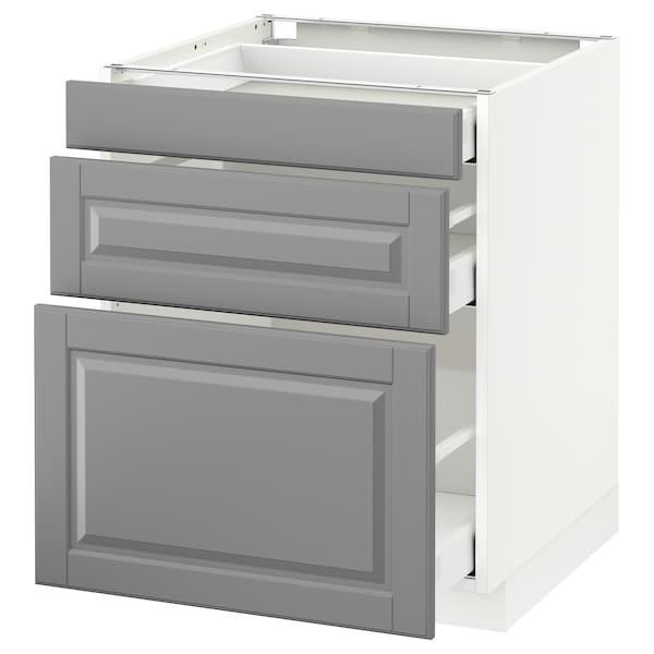 METOD Base cabinet with 3 drawers, white Maximera/Bodbyn grey, 60x60x70 cm