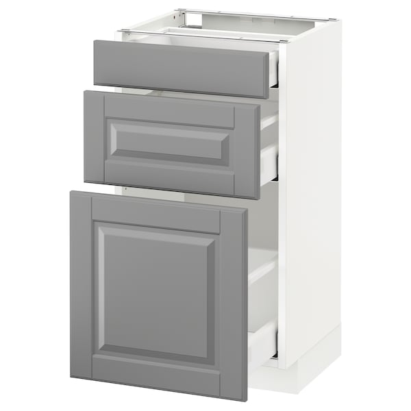 METOD Base cabinet with 3 drawers, white Maximera/Bodbyn grey, 40x37x70 cm