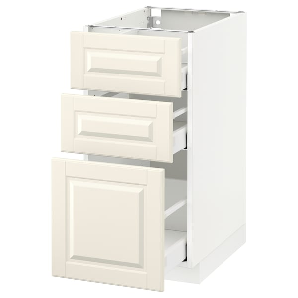 METOD Base cabinet with 3 drawers, white Maximera/Bodbyn off-white, 40x60x80 cm
