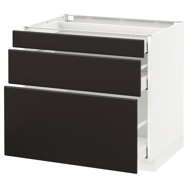 METOD Base cabinet with 3 drawers, white Maximera/Kungsbacka anthracite, 80x60x70 cm