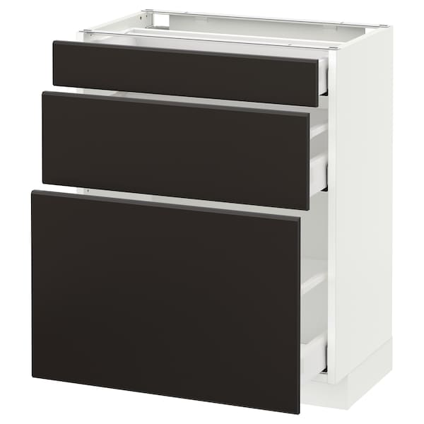 METOD Base cabinet with 3 drawers, white Maximera/Kungsbacka anthracite, 60x37x70 cm