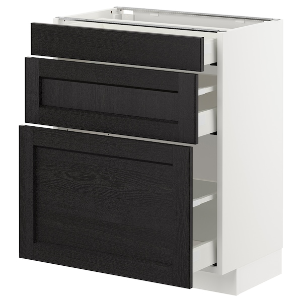 METOD Base cabinet with 3 drawers, white Maximera/Lerhyttan black stained, 60x37x70 cm