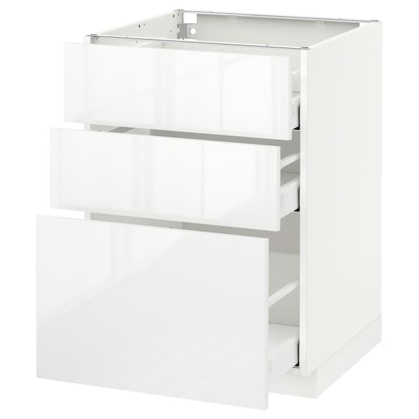 METOD base cabinet with 3 drawers white Maximera/Ringhult white 60.0 cm 60 cm 61.8 cm 80.0 cm