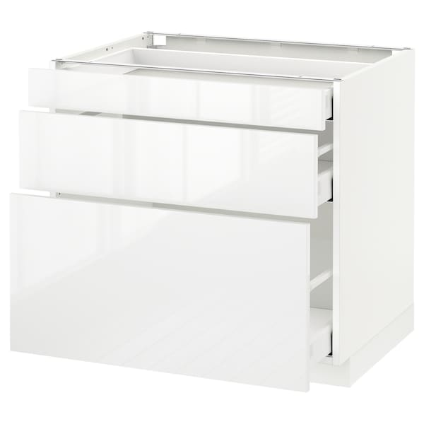 METOD Base cabinet with 3 drawers, white Maximera/Ringhult white, 80x60x70 cm
