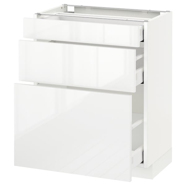 METOD Base cabinet with 3 drawers, white Maximera/Ringhult white, 60x37x70 cm