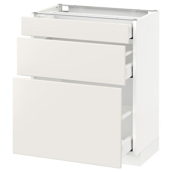 METOD Base cabinet with 3 drawers, white Maximera/Veddinge white, 60x37x70 cm