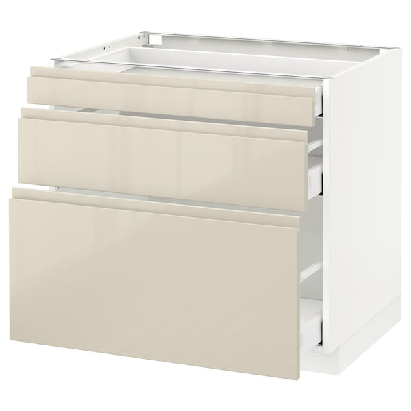 METOD Base cabinet with 3 drawers, white Maximera/Voxtorp high-gloss light beige, 80x60x70 cm