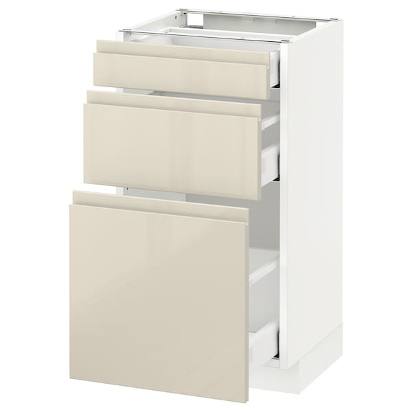 METOD Base cabinet with 3 drawers, white Maximera/Voxtorp high-gloss light beige, 40x37x70 cm