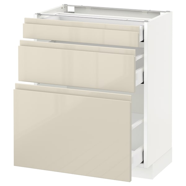 METOD Base cabinet with 3 drawers, white Maximera/Voxtorp high-gloss light beige, 60x37x70 cm