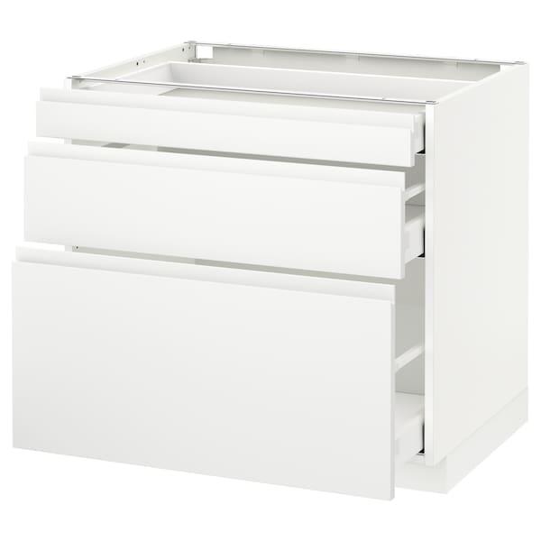 METOD Base cabinet with 3 drawers, white Maximera/Voxtorp matt white, 80x60x70 cm
