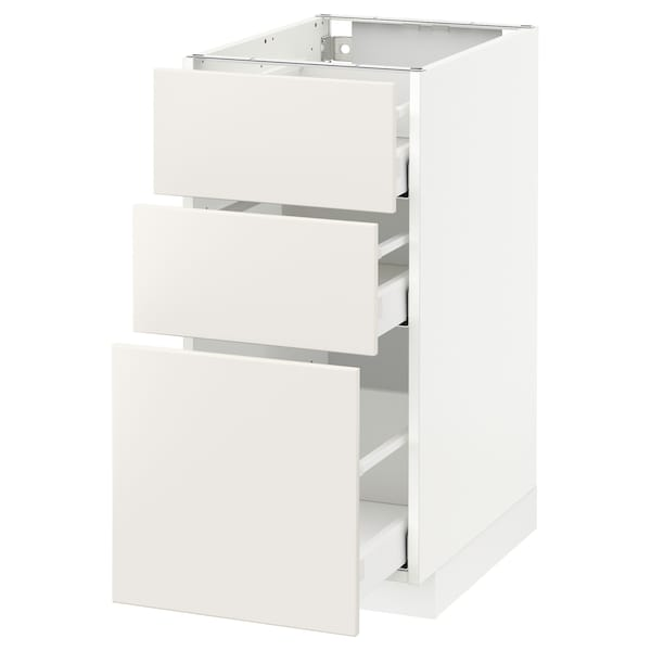 Metod Base Cabinet With 3 Drawers White Maximera Veddinge White