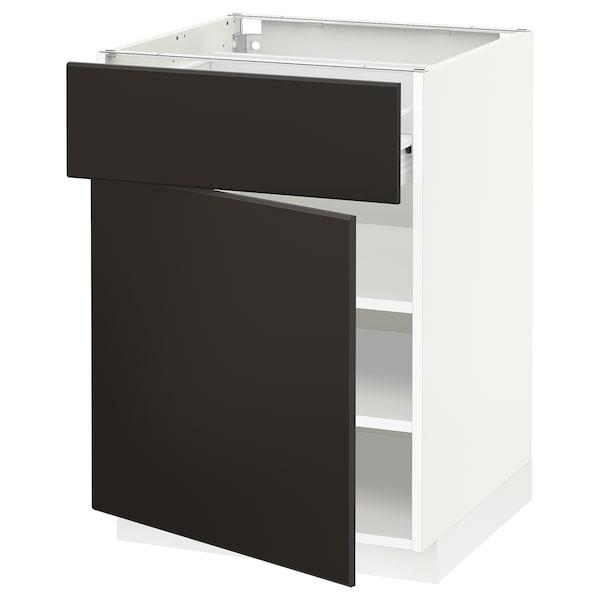 METOD Base cabinet with drawer/door, white Förvara/Kungsbacka anthracite, 60x60x80 cm