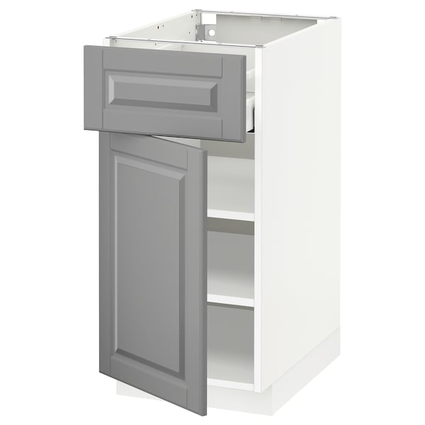 METOD Base cabinet with drawer/door, white Maximera/Bodbyn grey, 40x60x80 cm